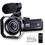 4K Camcorder Vlogging Camera for YouTube Ultra HD 4K 48MP Video Camera with Microphone & Remote Control WiFi Digital…