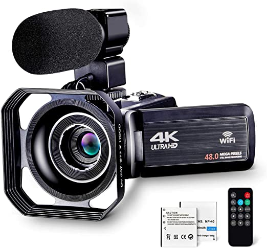 """Amazon.com : 4K Camcorder Vlogging Camera for YouTube Ultra HD 4K 48MP Video Camera with Microphone & Remote Control WiFi Digital Camera IR Night Vision 3.0"""" IPS Touch Screen : Camera & Photo"""