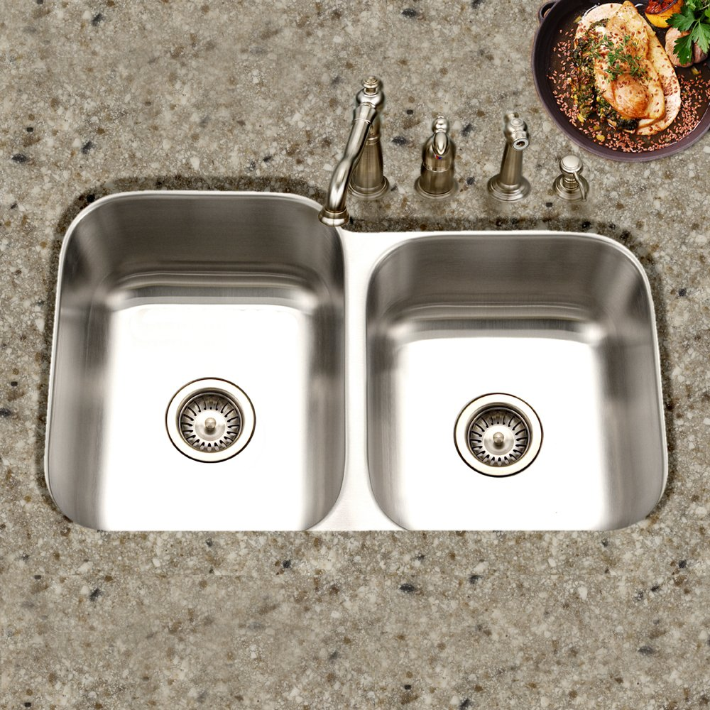 Houzer MEC-3220SR-1 Medallion Classic Series Undermount Stainless Steel 60 40 Double Bowl Kitchen Sink, Small Bowl Right
