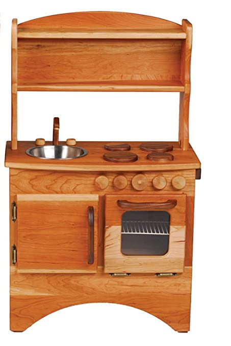 Camden Rose A Simple Hearth (Child\'s Cherry Wood Play Kitchen with Hutch)