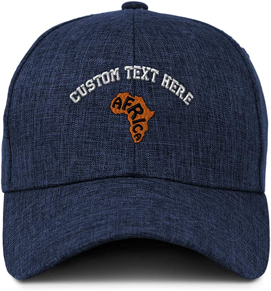 Custom Baseball Cap Orange Africa Continent Embroidery Acrylic Strap Closure