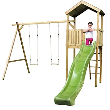 Wooden Childrens Climbing Frame and Swing Set, 1.5 Metres High, 1.2 ...