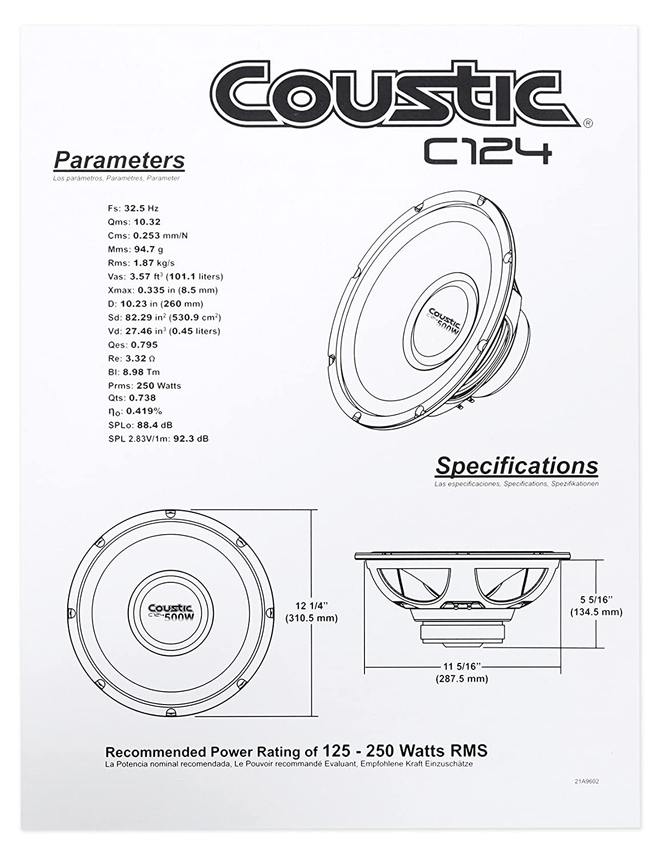 Coustic Amp Wiring Diagram Simple Amazon Com 2 By Mtx C124 12 1000 Watt Car Audio Bourns