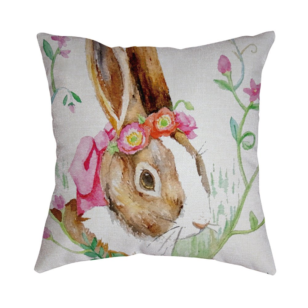 Pet1997 Happy Easter Linen Pillowcase, Festival Rabbit Pillow Case Cushion Cover, Easter Sofa Bed Home Decoration, Luxury Bedding,18 X18 Inch (A)