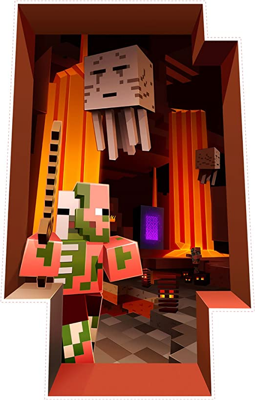 Jinx Minecraft The Nether Removeable Wall Cling Decal Sticker For Kids Room