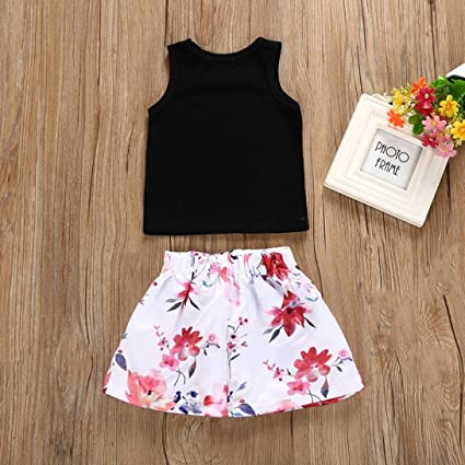 ee693ef760d Amazon.com  G-real Little Girls Kids Cute 2pcs Black Vest T-Shirt  Tops+Floral Tutu Skirt Summer Outfits for 1-5T  Clothing