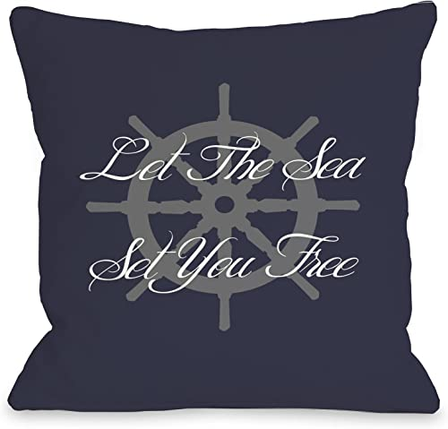 One Bella Casa Let the Sea Set You Free Outdoor Throw Pillow