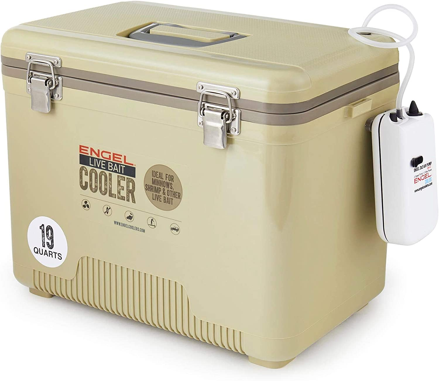 Tan Live Bait Drybox Cooler with 2 Speed Aerator Pump.