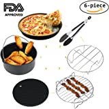 Air Fryer Accessories for Gowise Phillips Cozyna and More, Deep Fryer Universal 6-pieces Premium Air Fryer Accessories Set Fit all 3.7QT &5.3QT & 5.8QT