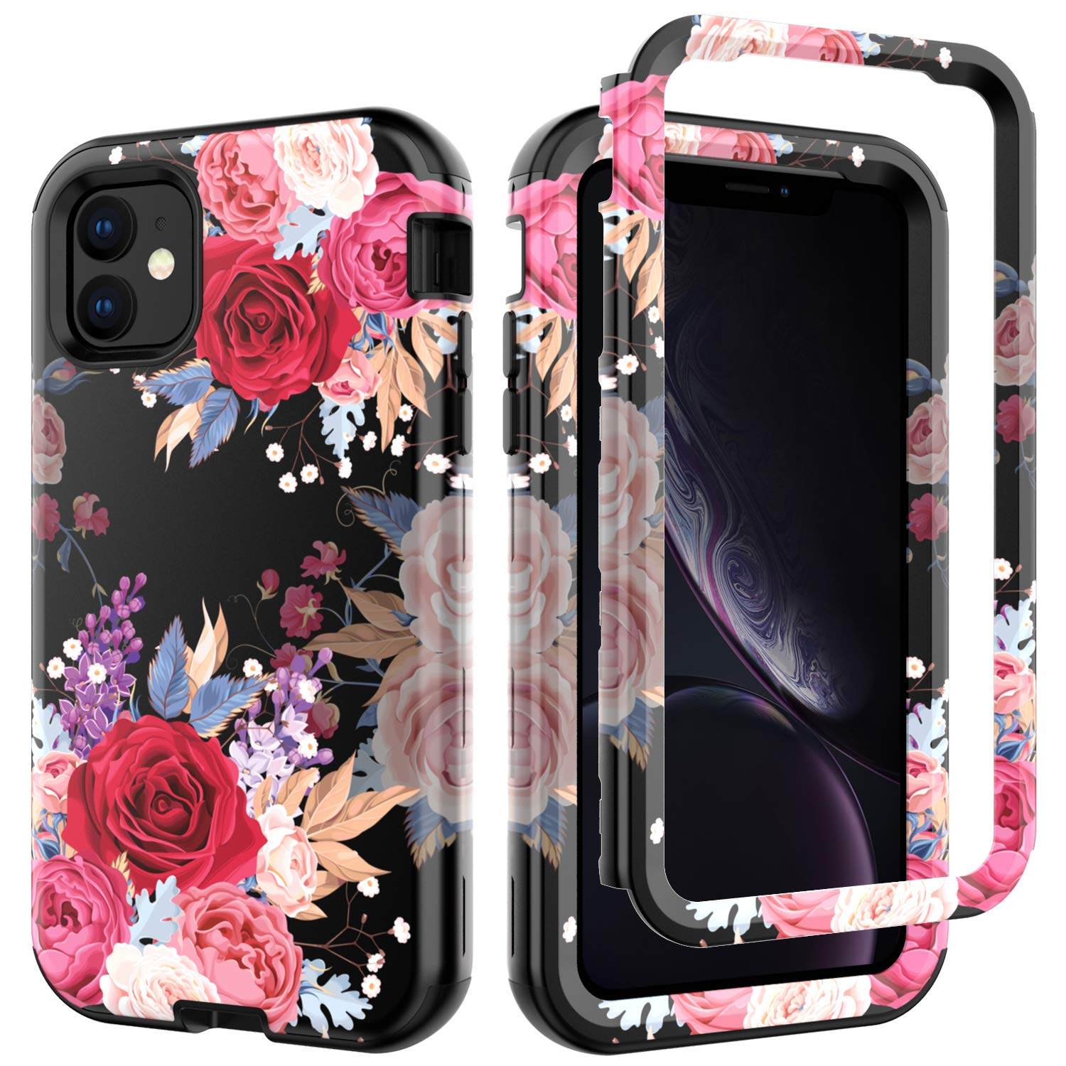 iPhone 11 Case, Ranyi Luxury Floral Flower Pattern Full Body Protection 3 in 1 Hybrid Bumper Shock Absorbing High Impact Heavy Duty Defender Case Cover for Apple 2019 6.1 Inch iPhone 11 (red) by Ranyi