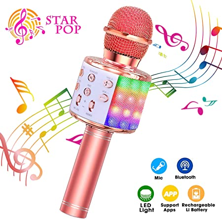 ♪ ♪【FUNCIO 4 EN 1 DE】Se puede utilizar como micrófono inalámbrico y altavoz Bluetooth. reproductor d
