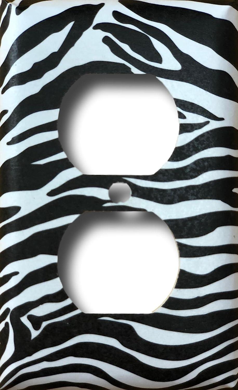 Black White Zebra Animal Print Safari Decor Decorative Outlet Wall Plate
