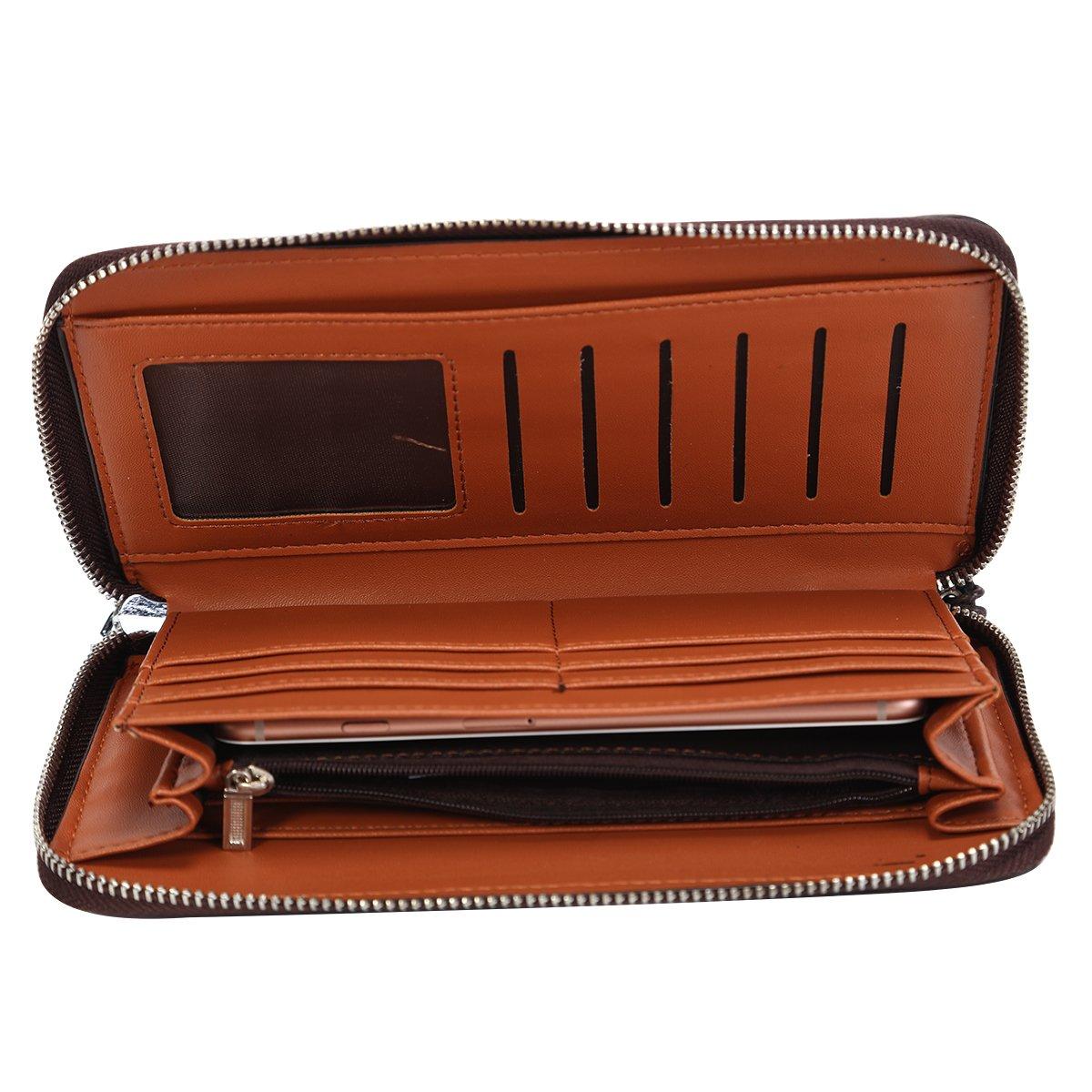 Mens Clutch Genuine Leather Handbag Organizer Checkbook Wallet Card Case by HOLYBIRD (Image #5)