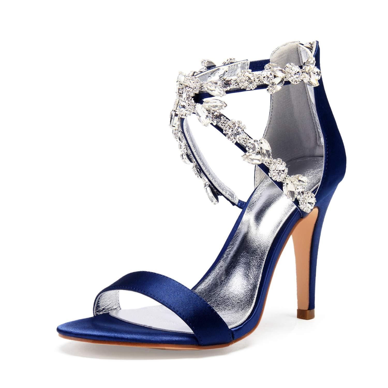 Darkbleu JRYYUE Femmes Strass Chaussures de Mariée Pointu Peep Peep Peep Toe Satin Pompes Talon Hauts Sandales 10.5CM 4b1
