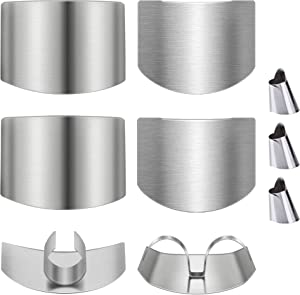9 Pcs Stainless Steel Finger Guards for Cutting, Adjustable Finger Protector Guard Peelers Cutting Knife for Vegetables Meat Food Kitchen Tools
