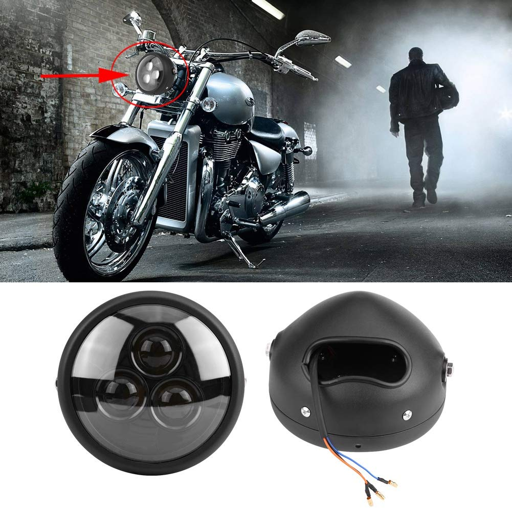 One Lamp Beads KIMISS 6.5inch Front Motorcycle LED Headlight Headlamp Bulb with Cold White Light Universal 3 Lamp Beads