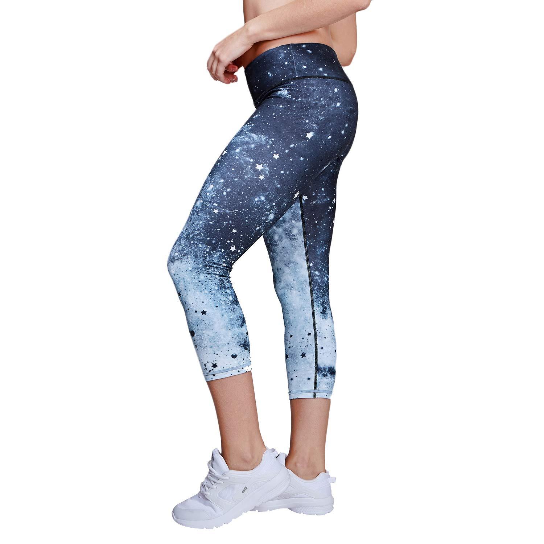 Matymats High Waist Yoga Capris Leggings Women's Workout Pants Printed Yoga Pants with Pockets