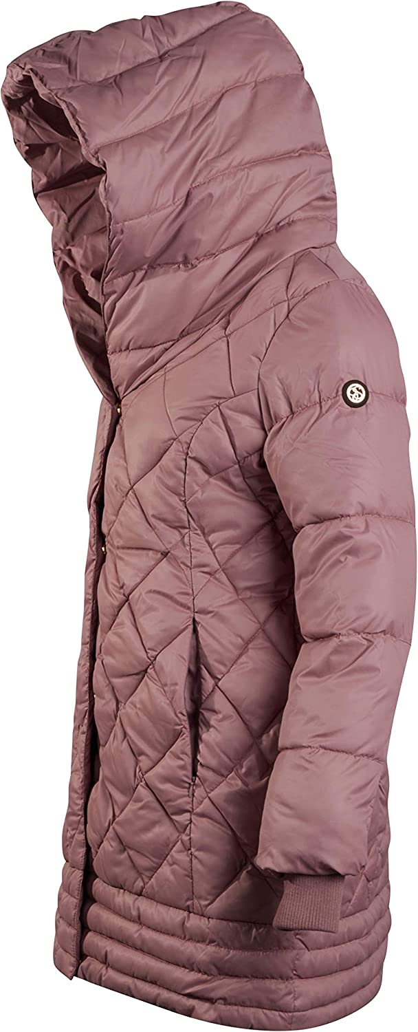 Dusty Pink Jessica Simpson Womens Nylon Hooded Puffer Jacket with Knit Collar Bib Size Small