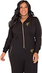 2523a17d4 Poetic Justice Plus Size Curvy Women's French Terry Gold Zip Wrap Tie Hoodie