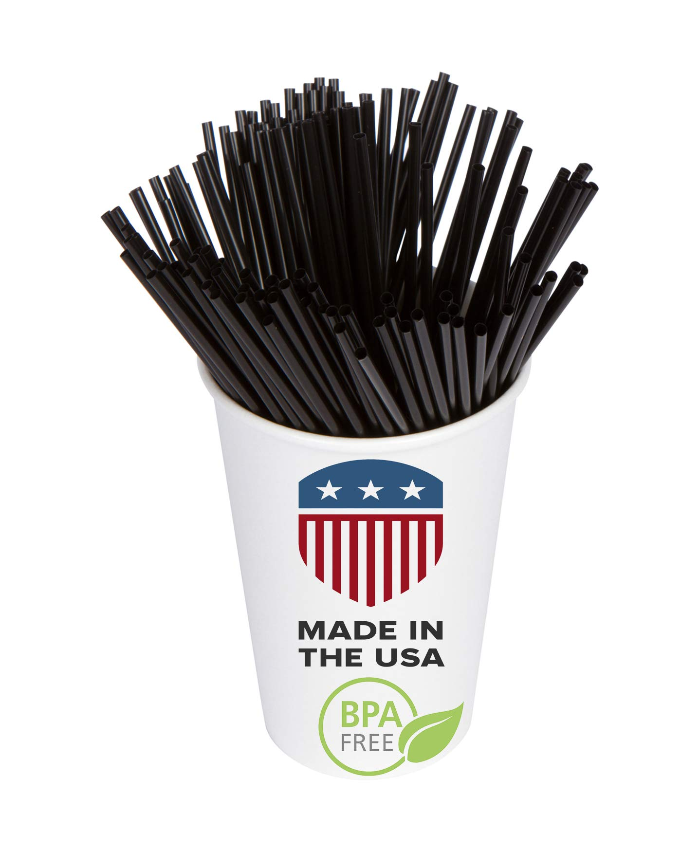 Coffee Stir Sticks, Plastic Stirrers: USA Made, BPA Free: Cocktail Straws, 5.25'' Black, 1000ct