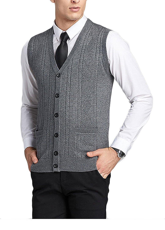chic Cheryl Bull Trendy Men's V-Neck Business Button Knitwear ...