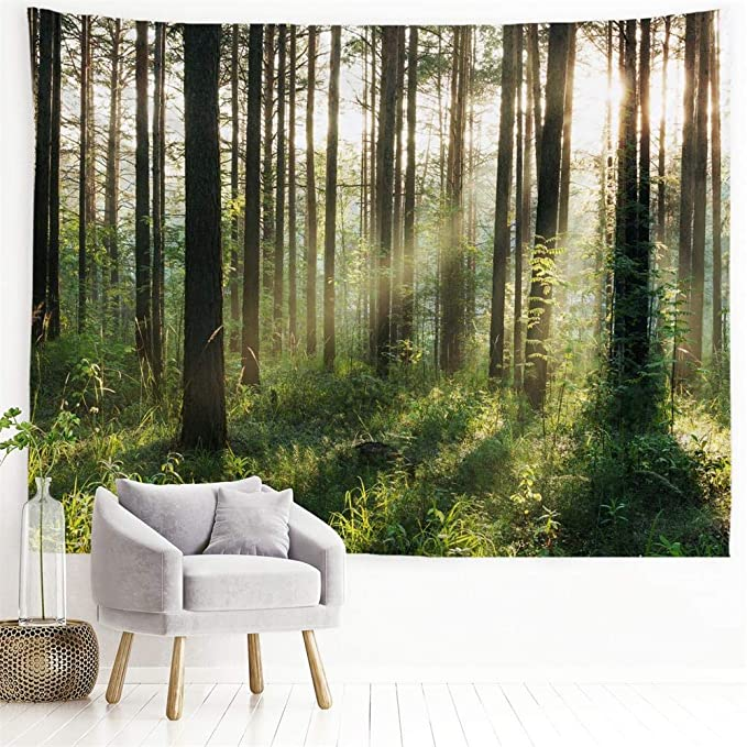 Amazon Com Procida Home Tapestry Wall Hanging Nature Art Polyester Fabric Tree Theme Wall Decor For Dorm Room Bedroom Living Room Nail Included 90 W X 71 L 230cmx180cm Sunlight Forest Everything Else