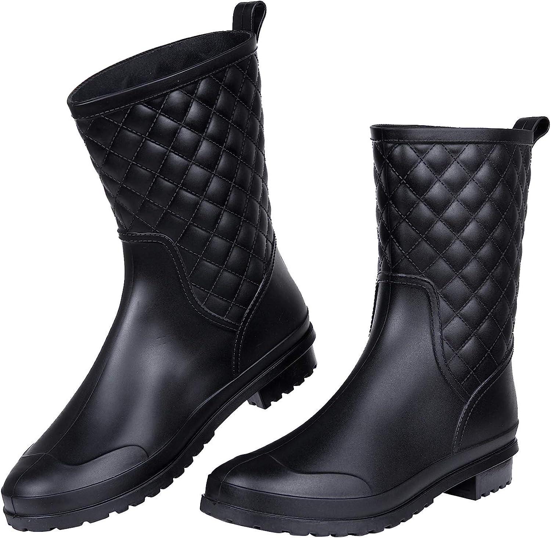 Women's Mid Calf Rain Boots Waterproof