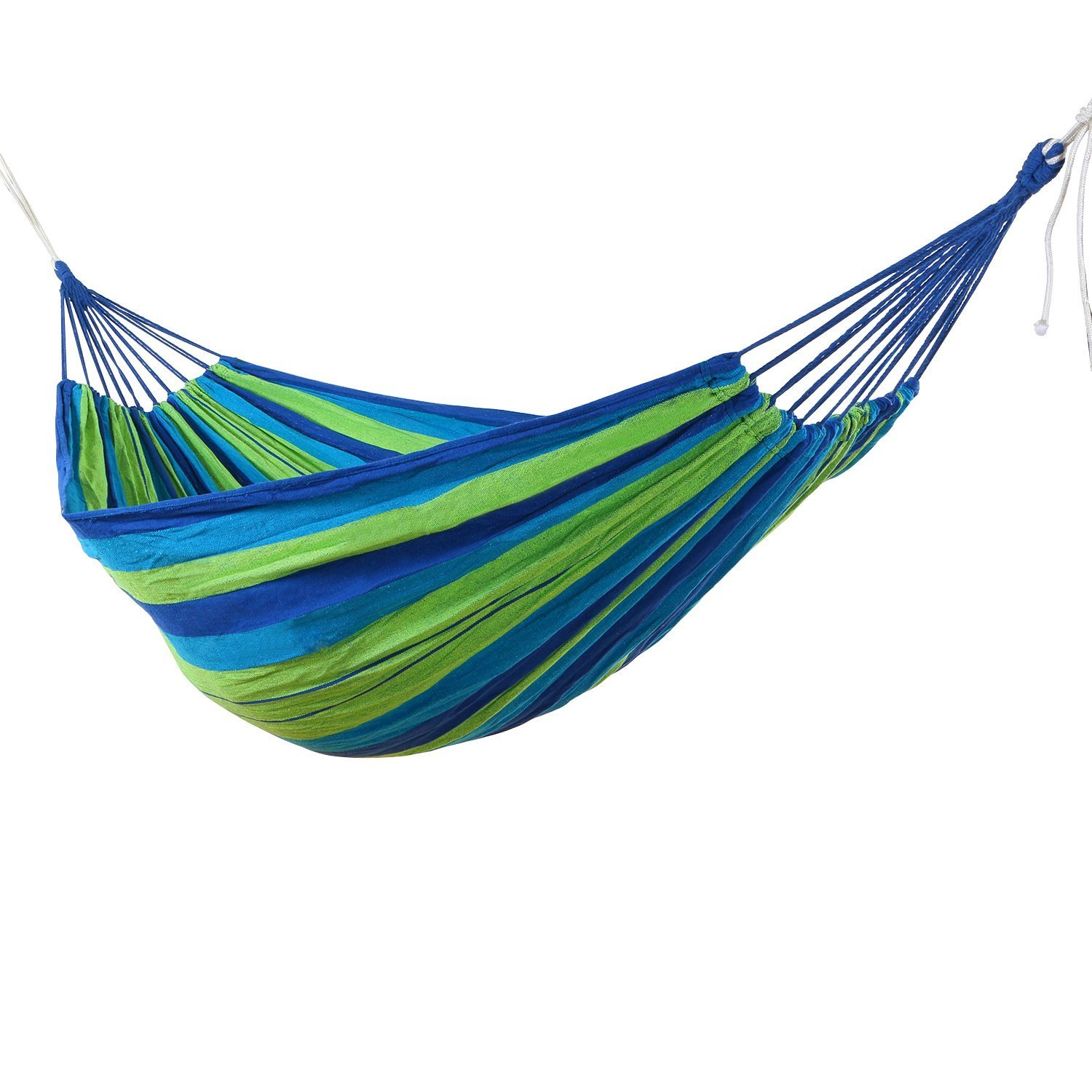 MELIFE Portable Outdoor Garden Hammock Hang Bed Travel Camping Use Swing Canvas Stripe, Carrying Pouch Included Blue Green Stripes