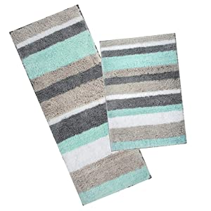 "HEBE Non-Slip Microfiber Bath Rug Mat and Runner for Bathroom Extra Soft Thick Bathroom Rug Floor Carpet Water Absorbent Machine Washable,26""x18""+48""x18"""