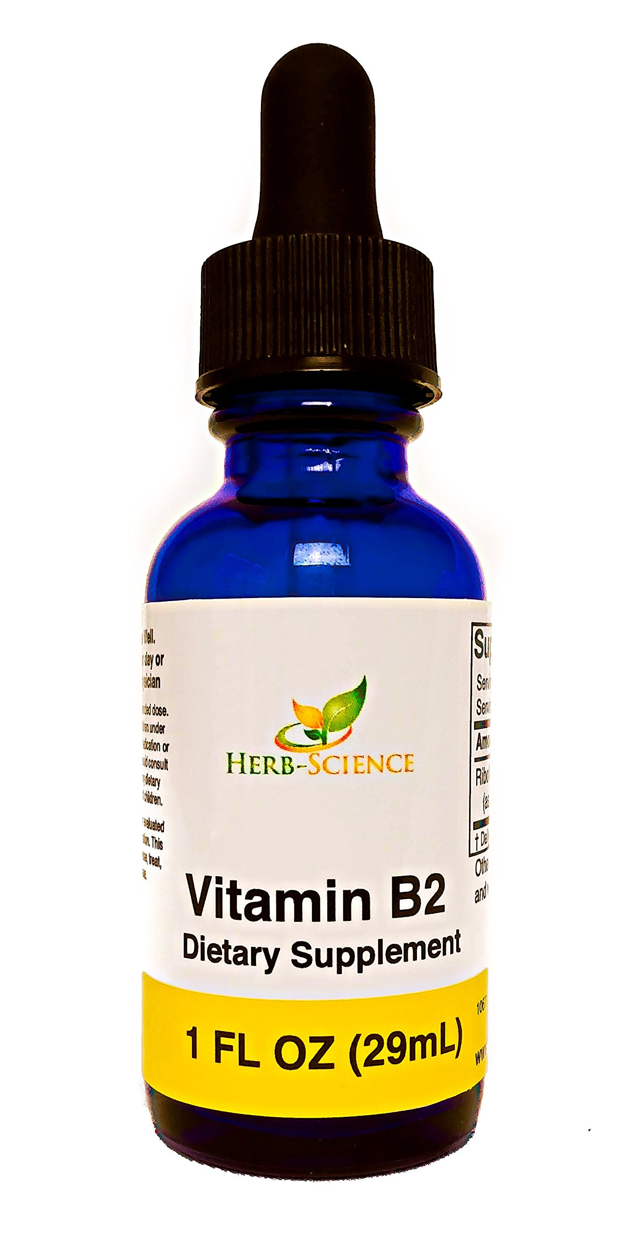 Liquid Vitamin B2 Riboflavin Drops, Alcohol-Free Liquid Extract Support Digestion, Maintain Proper Energy Levels, Boost Collagen Production for Healthy Hair, Nails, Skin, Herb-Science (1 oz)
