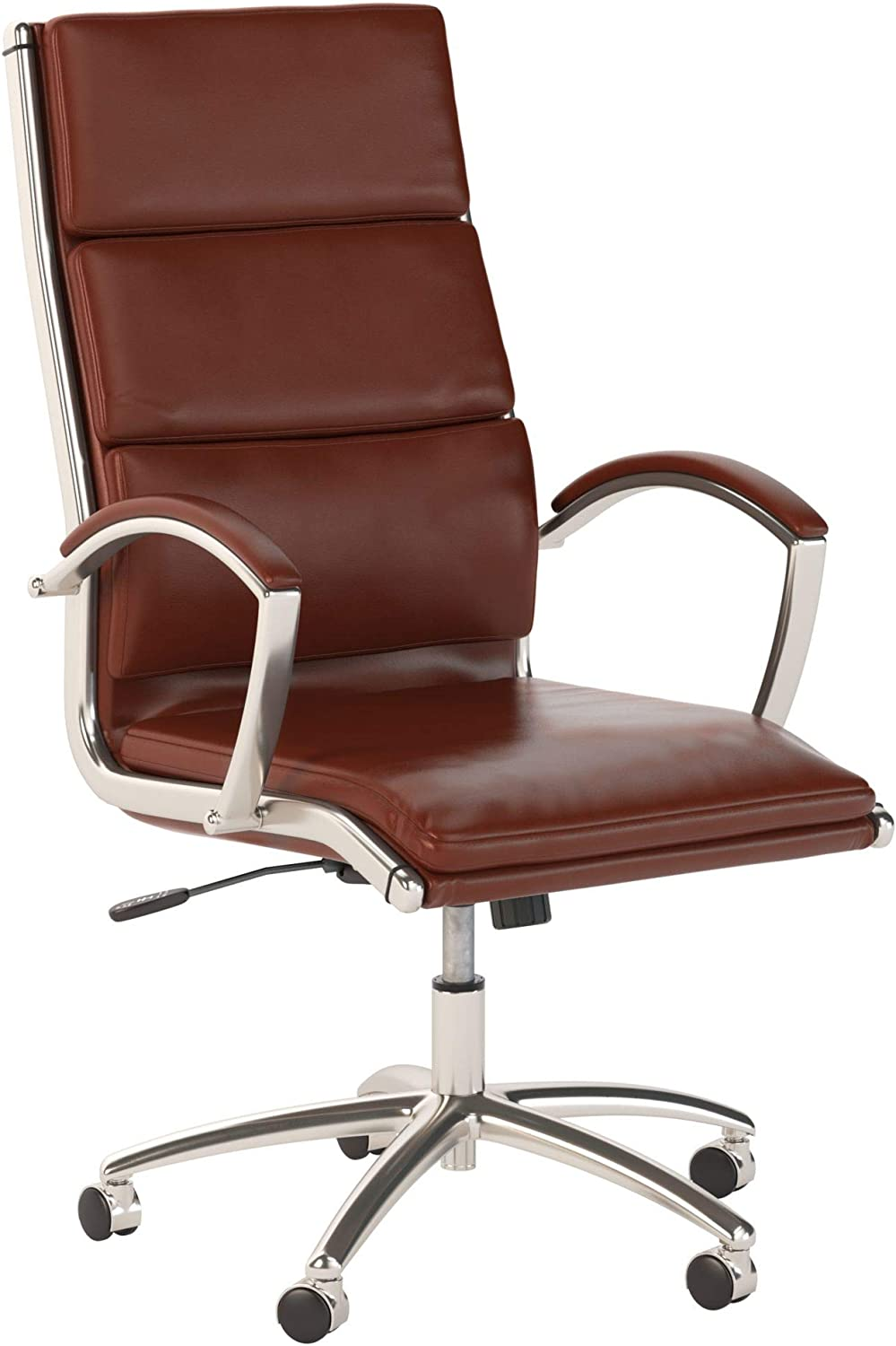 Bush Business Furniture Modelo High Back Leather Executive Office Chair in Harvest Cherry