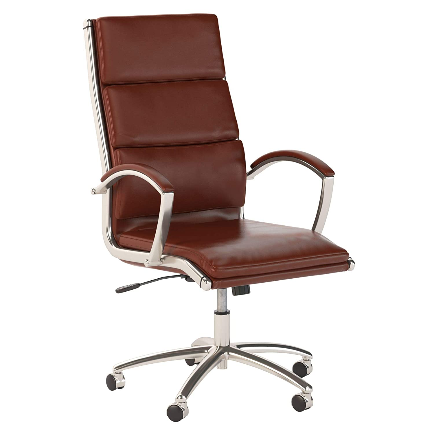 Bush Business Furniture Series C High Back Leather Executive Office Chair in Harvest Cherry