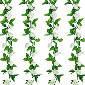 4 Pcs 28Ft Flower Garland White Fake Roses Vines Bedroom Aesthetic Spring Summer Hanging Artificiales para Decoracion for Room,Tea Party,Wedding Arch Decor