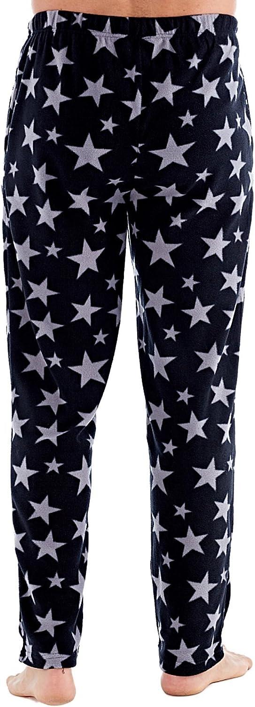 Harvey James Mens Star Print Lounge Pants Fleece Pyjama Bottoms