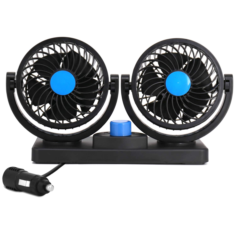 Electric Car Fan, Dual Head 2 Speed 12V Cooling Air Circulator - 360 Degree Rotatable Auto Fan - for Sedan SUV/RV/Boat/Auto Vehicles