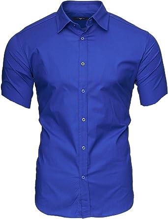 Kayhan Hombre Camisa Manga Corta Slim Fit S-6XL - Modello Caribic: Amazon.es: Ropa y accesorios
