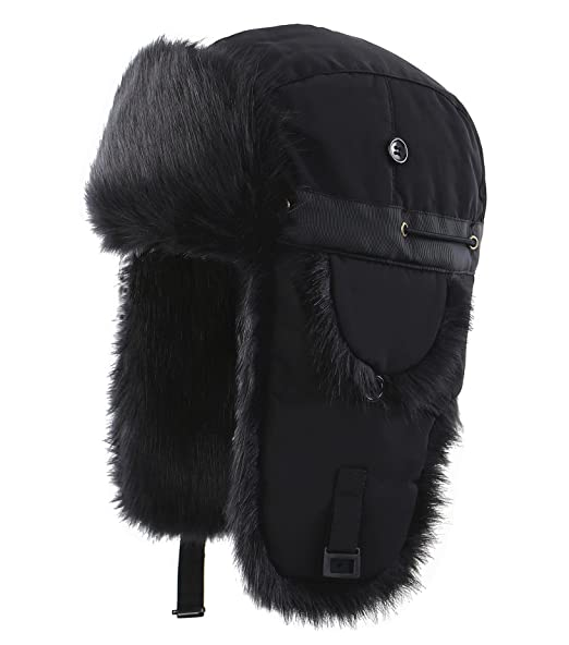 3bdd7cdbff2 Connectyle Unisex Faux Fur Lined Trooper Trapper Hat Warm Winter Hunting  Bomber Hats with Ear Flaps