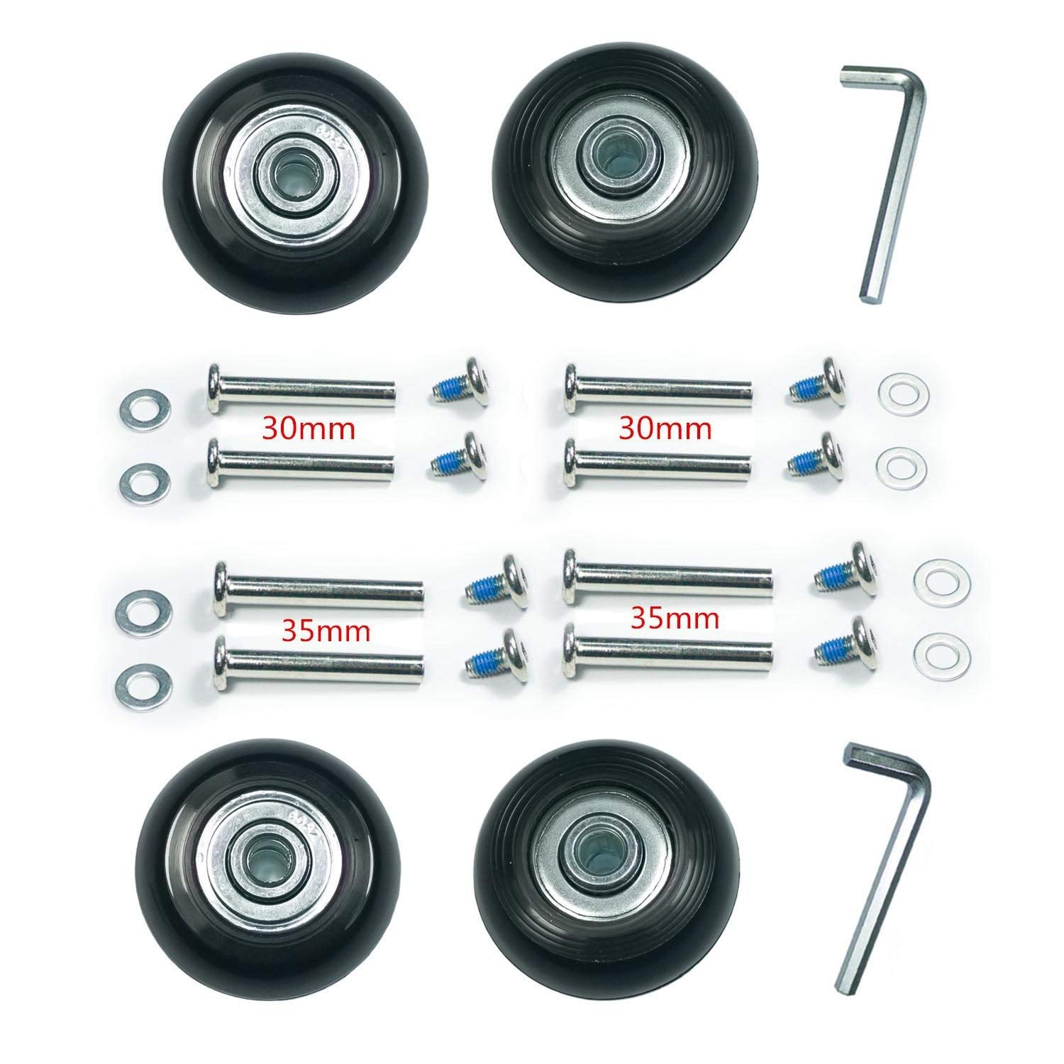 F-ber Wear-Resistant Luggage Suitcase Wheels Replacement Kit 60mm x 18mm Wheels ABEC 608zz Skate Inline Outdoor Replacement Wheels, One Set of (4) Wheels (OD:60 W:18 ID:6 Axles:30, Axles:35) by F-ber