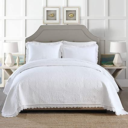 Luxus Doppelt Weiß Gesteppt Bestickt Tagesdecke 2 Kissenbezug