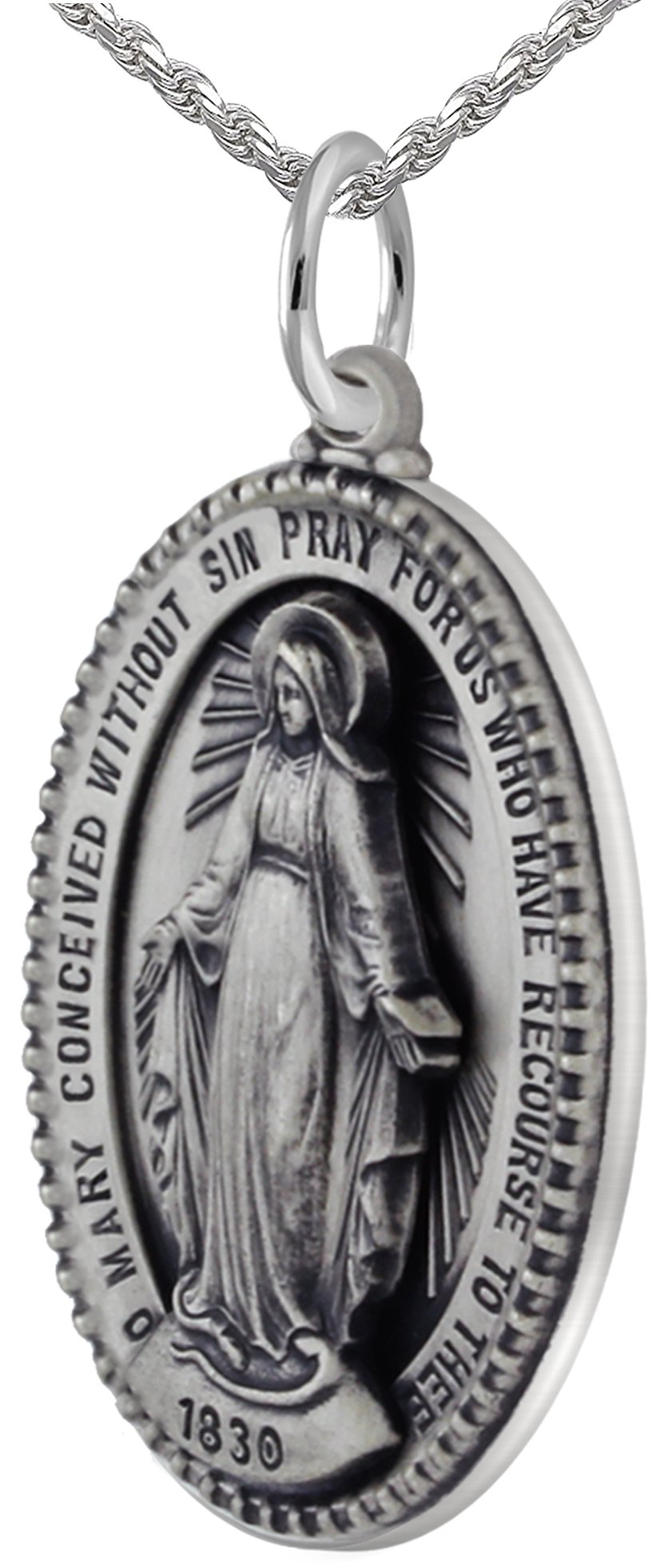 New 0.925 Sterling Silver 1.5'' Oval Miraculous Virgin Mary Antique Finish Pendant 3.3mm Rope Necklace, 18''