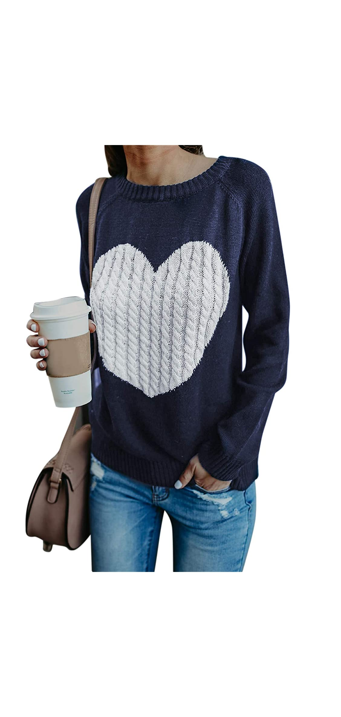 Womens Crew Neck Long Sleeve Knit Sweater Pullover Top