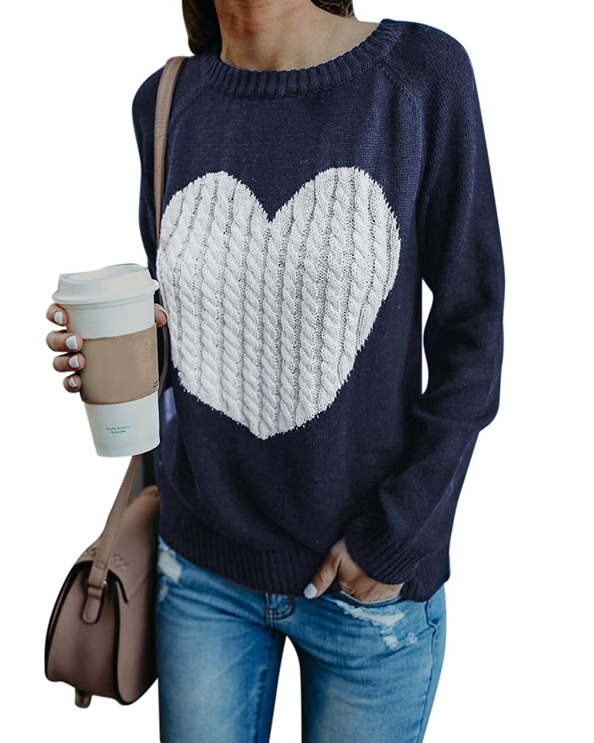 BBYES Womens Crewneck Long Sleeve Knit Sweater Pullover Top Heart Pattern BBYES-FB0000274@639