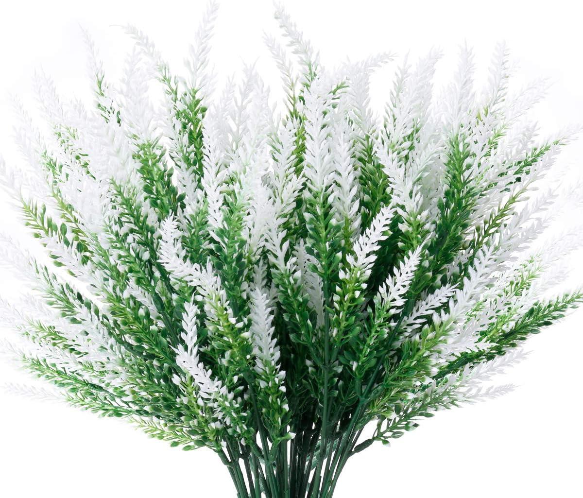 JEMONG 8 Bundles Artificial Lavender Flowers Outdoor UV Resistant Fake Flowers No Fade Faux Plastic Plants Garden Porch Window Box Decorating (Classic White)