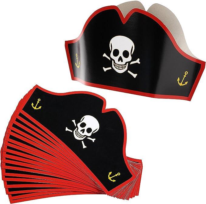 Juvale Sombreros de cartón Pirata – Sombreros de Fiesta Ajustables ...