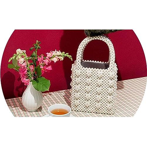 Amazon.com: Bolsas de perlas de metal para mujer, con asa ...