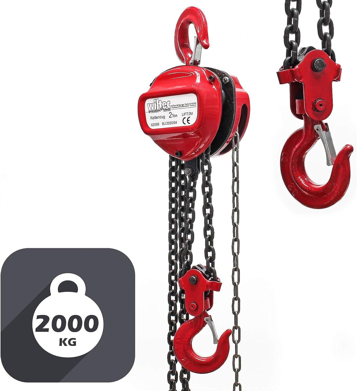 WilTec Palan /à cha/îne de 2000 kg Longueur cha/îne 3m Hauteur de Levage de 3 m