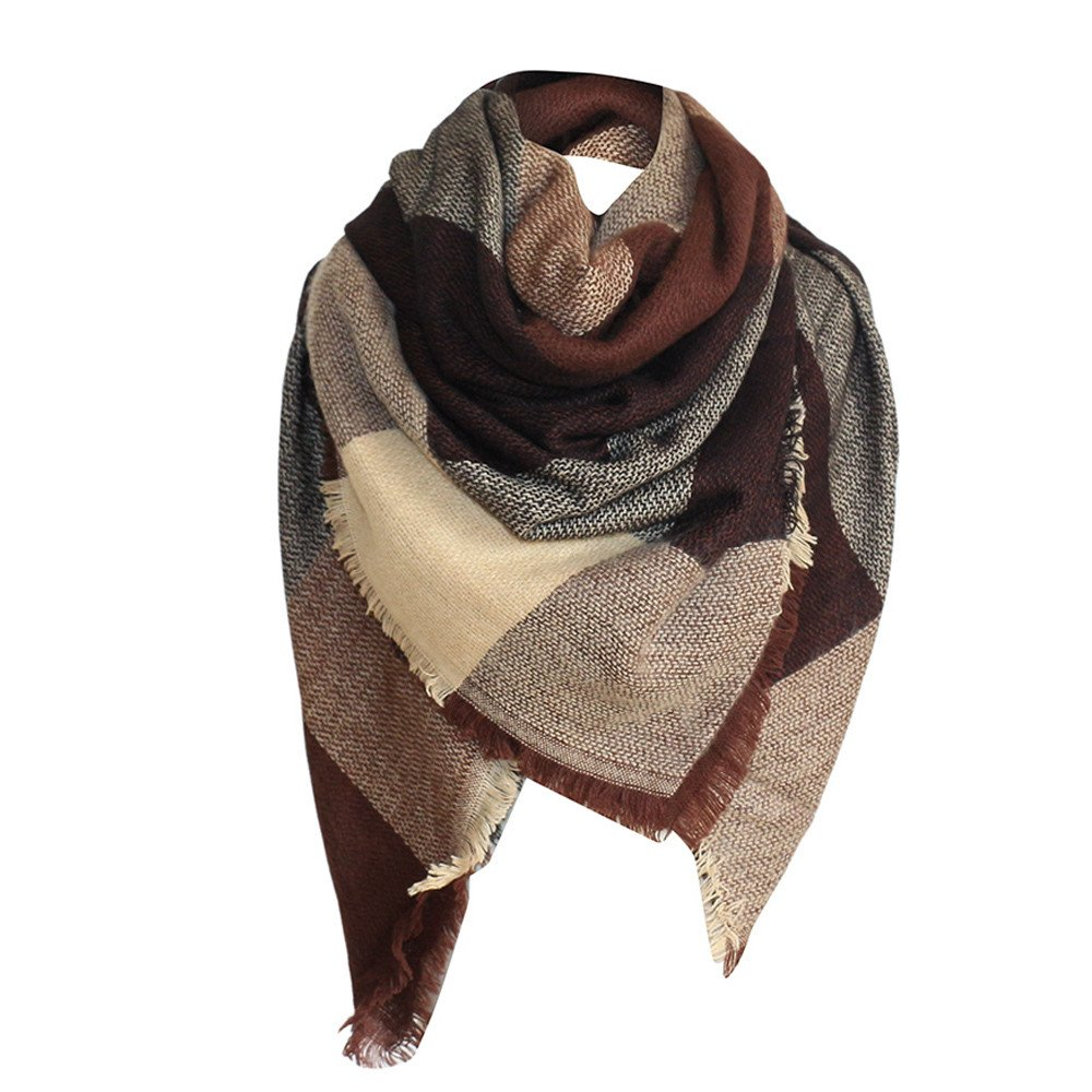 Clearance Unisex Plaid Scarves Cotton Blend Warm Scarf Triangle Shawl Wraps For Winter And Autumn