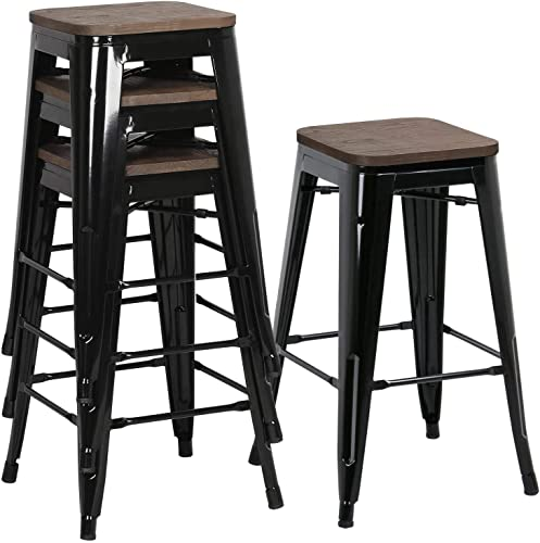 Yaheetech 26Inch Seat Height Metal Bar Stools Dining Stools Chairs with Wood Seat Top Indoor Outdoor Stackable Barstools Set of 4, Black