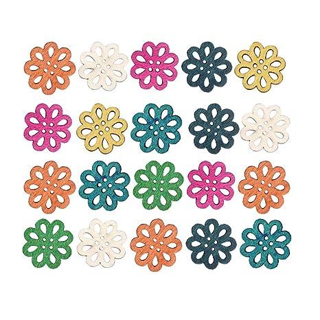 Supvox 100 Piezas De Madera Botones De Artesanía 4 Agujeros Botones
