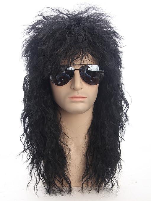 DSY 70s 80s disfraces de Halloween balancín Dude peluca punk metal Rocker Disco Mullet peluca Negro